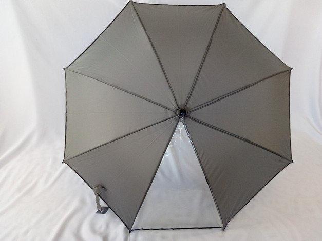 Серый подростковый зонт трость 8 спиц с прозрачной вставкой
