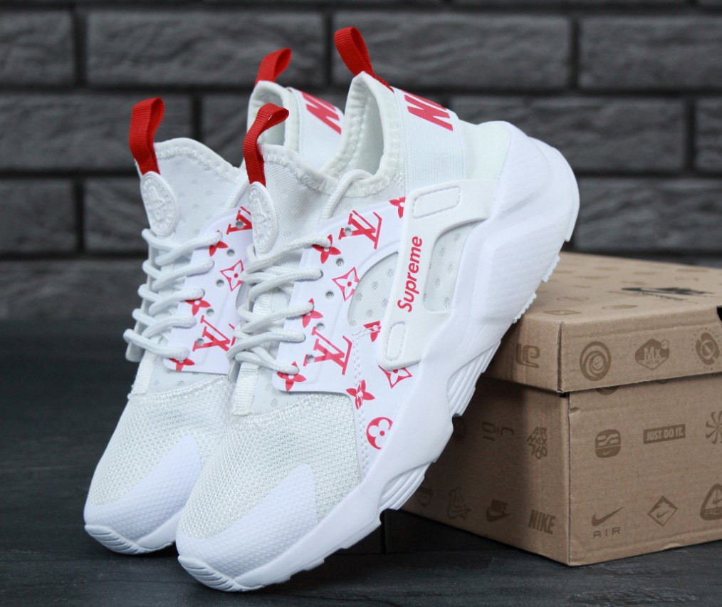 0385d426 Кроссовки в стиле Supreme x LV x Nike Air Huarache Run Ultra White женские