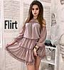 Шифотоновое платье с воланами, в расцветках.
