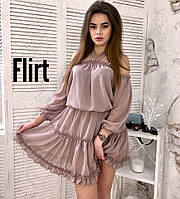 Шифотоновое платье с воланами, в расцветках., фото 1