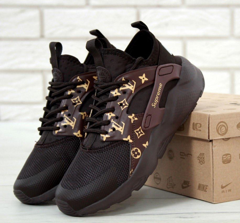 229949c2 Кроссовки в стиле Supreme x LV x Nike Air Huarache Run Ultra Brown женские