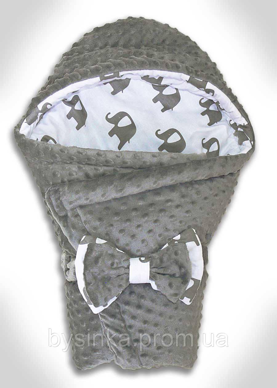 Конверт-плед детский Плюш Minky, 70*80 см. Конверт с капюшоном