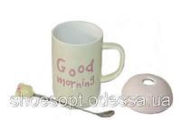 Кружка керамическая Good morning с крышкой и ложечкой