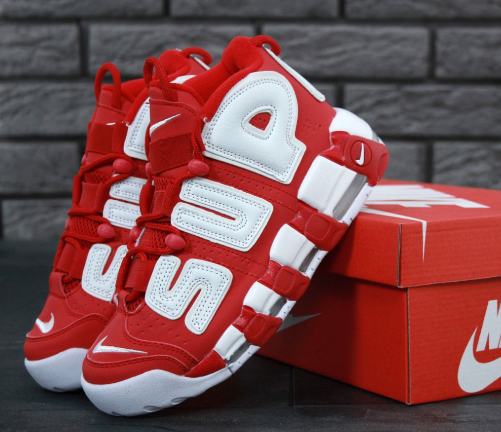 c300f51a07aa Кроссовки в стиле Supreme x Nike Air More Uptempo  Suptempo  Red женские