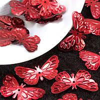 """(20гр ≈ 240 шт) Пайетки """"Бабочки"""" 25х14мм (пайетки с отвертием) Цена за 20грамм Цвет - Красный"""