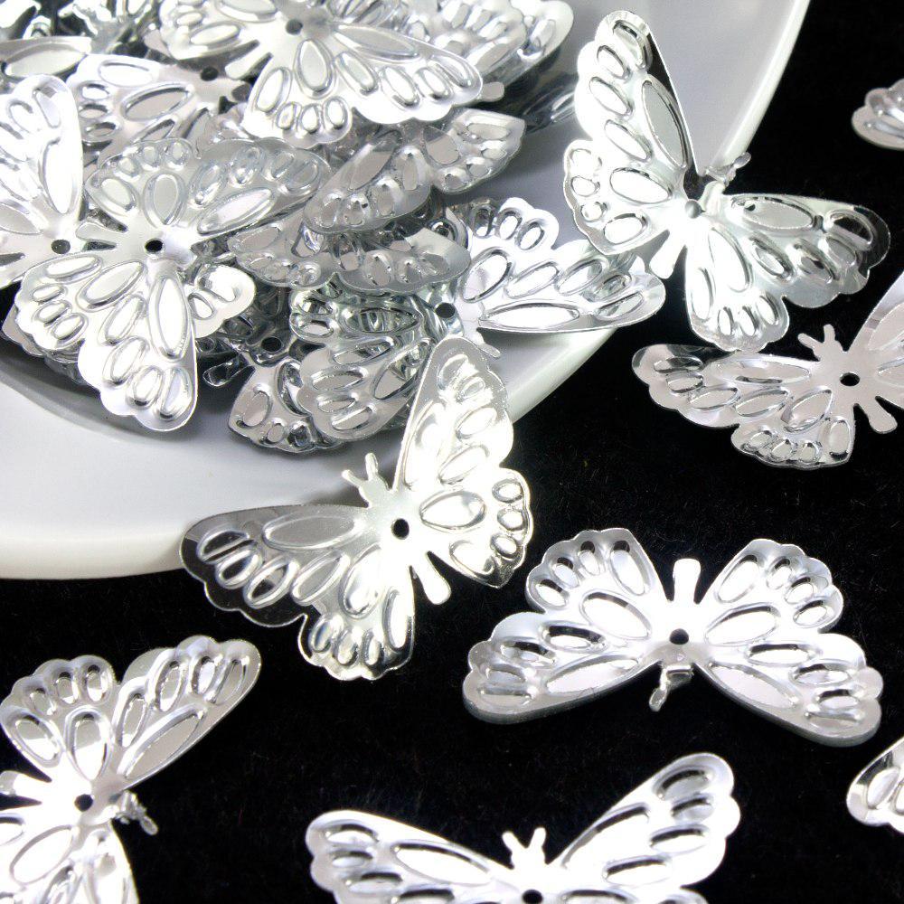 "(20гр ≈ 240 шт) Пайетки ""Бабочки"" 25х14мм (пайетки с отвертием) Цена за 20грамм Цвет - Серебро"