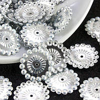 (20гр ≈ 200 шт) Пайетки круглые d=20мм (пайетки с отвертием) Цена за 20грамм Цвет - Серебро