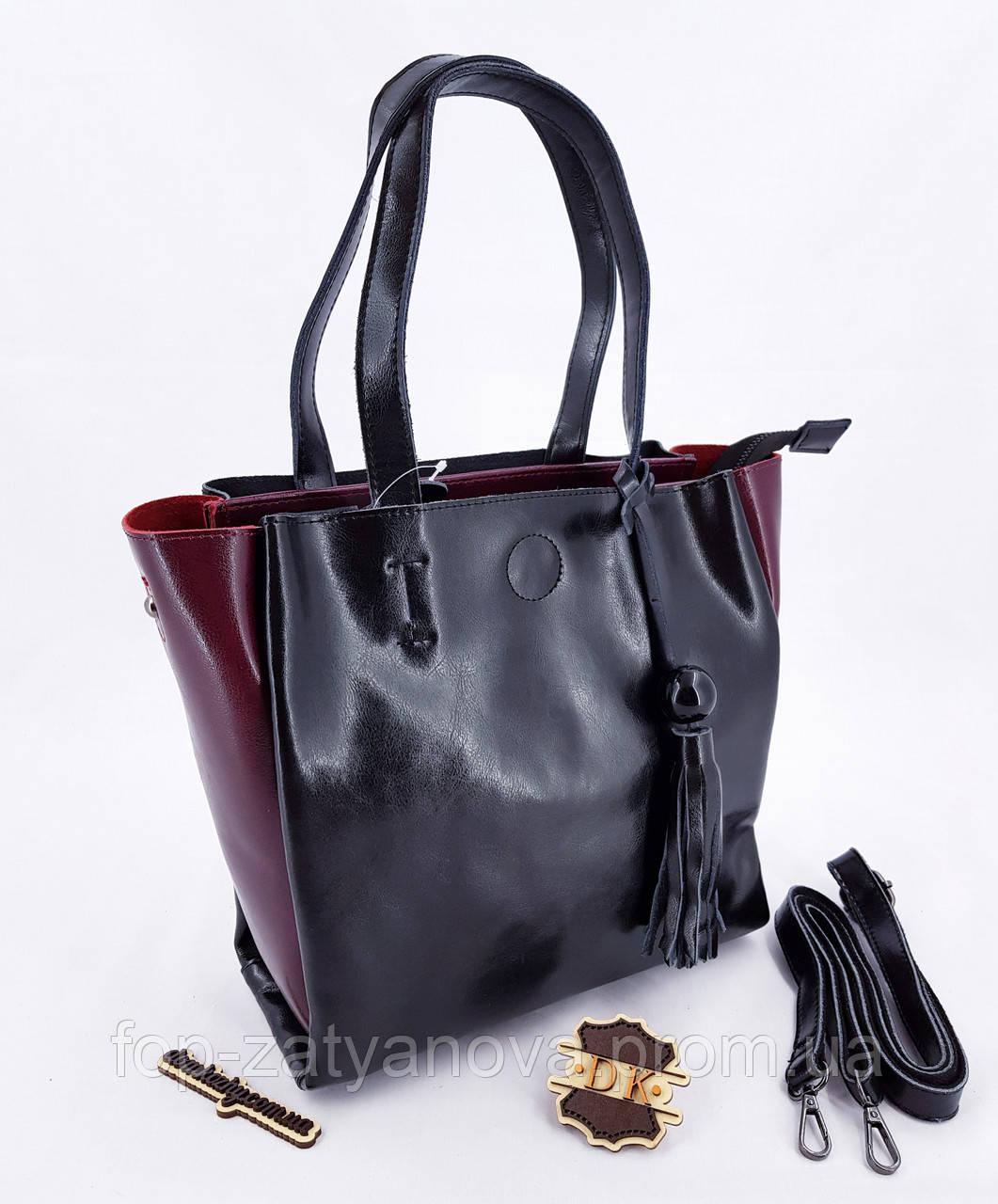 2d9f94388d85 ЛИКВИДАЦИЯ Женская кожаная сумка двухцветная 29*13*28 см (натуральная кожа)