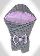 Конверт-плед на выписку новорожденного Плюш Minky, 70*80 см.Конверт-одеяло с капюшоном на выписку