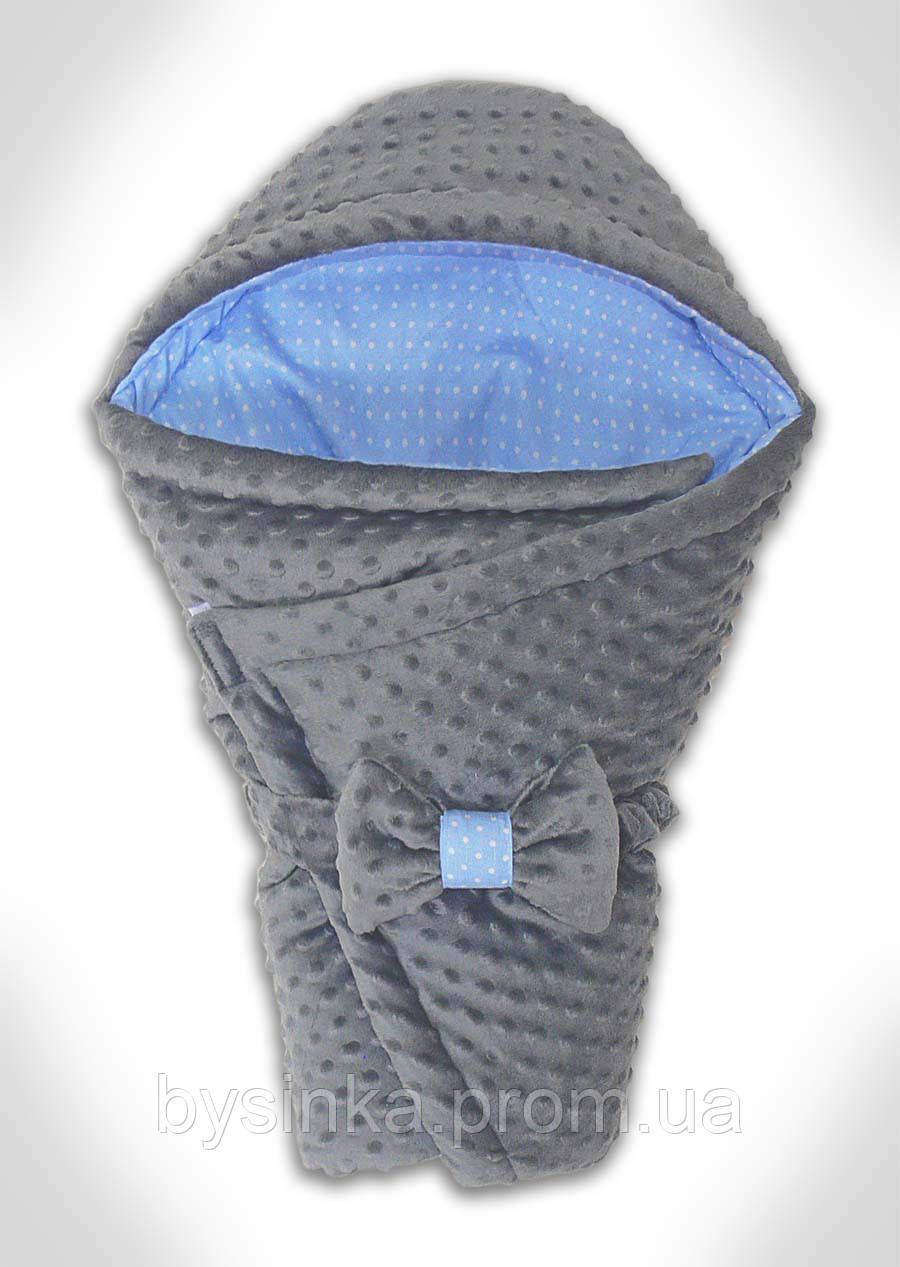 Конверт-плед на выписку новорожденного Плюш Minky, 70*80 см.