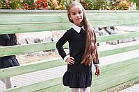 Школьное платье с длинным рукавом белым воротником, манжетами на рукавах и воланами чёрное 128 134 140 146, фото 1