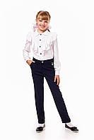Синие школьные брюки для девочки с карманами