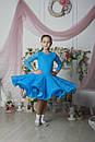 Рейтинговое платье Бейсик для бальных танцев Sevenstore 9101 Голубая бирюза, фото 4