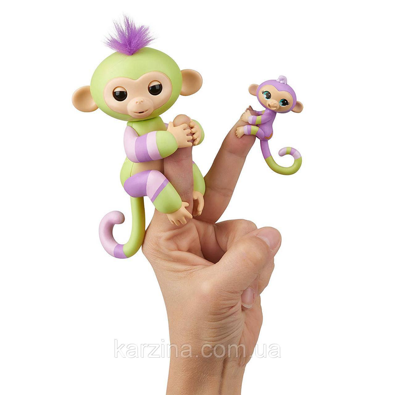 Обезьянки Fingerlings с другом 100% Оригинал WowWee Baby Monkey & Mini Bffs Jess and Eden Джес и Эйден