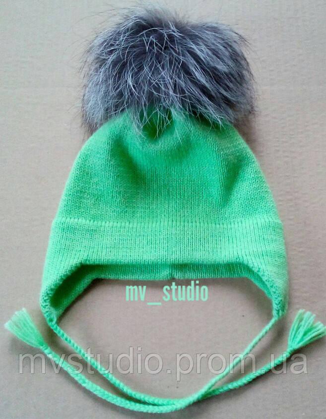 Детская полушерстяная шапка с помпоном, сезон весна-осень