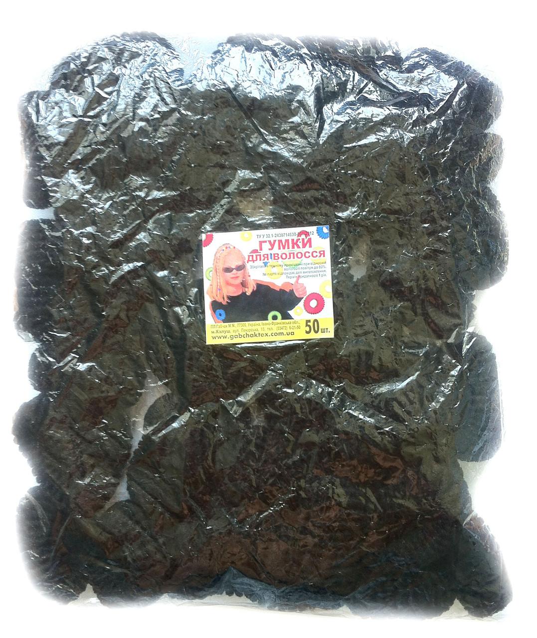 Резинки для волос черные, 50шт., (37 мм)