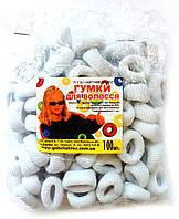 Резинки для волос белые, 100шт., (25 мм)
