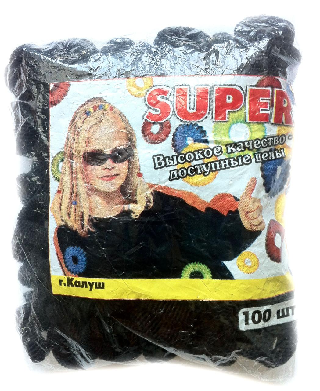 Резинки для волос черные, 100шт., (25 мм)