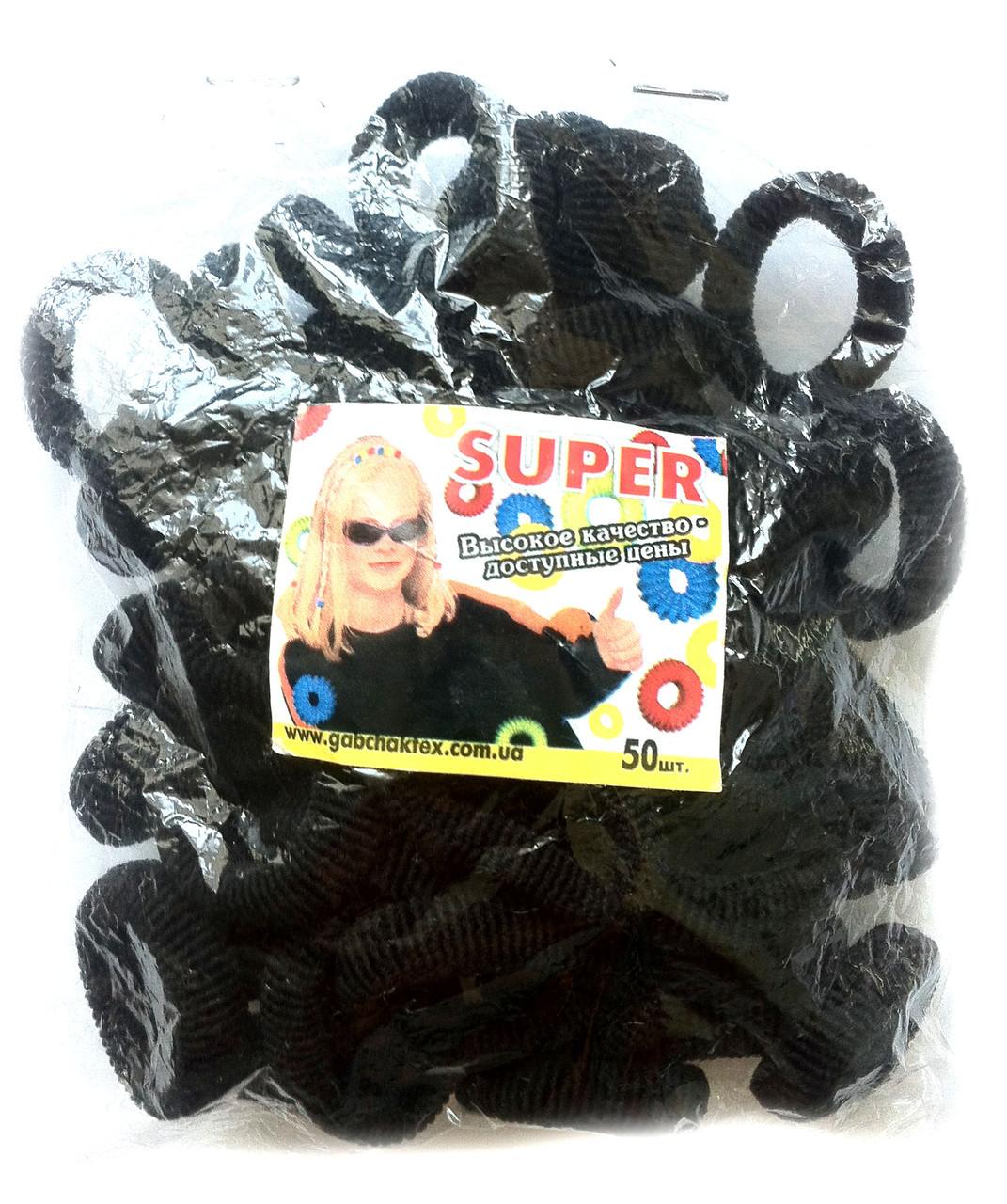 Резинки для волос черные, 50шт., (55 мм)