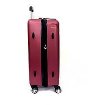 Ударопрочный чемодан пластиковый из поликарбоната средний 58+12 л Oulando бордовый, фото 3