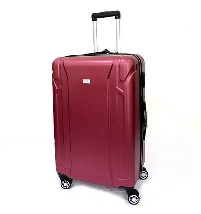 Ударопрочный чемодан пластиковый из поликарбоната средний 58+12 л Oulando бордовый, фото 2