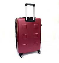 Ударопрочный чемодан пластиковый из поликарбоната большой 111 л Oulando бордовый, фото 3