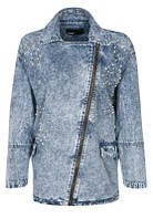 Женская легкая джинсовая куртка с косой молнией размер S от Minimum Denim Jacket Blue