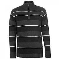 Джемпер Pierre Cardin Quarter Zip Striped Charcoal - Оригинал