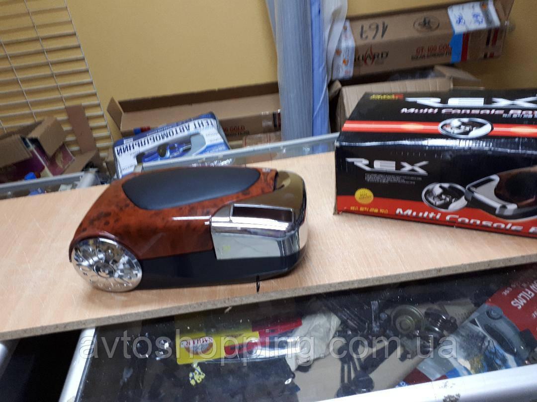 Подлокотник универсальный автомобильный черный дерево с хромом! качество!