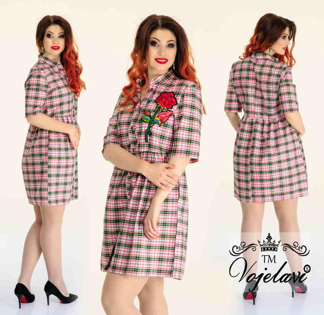 Стильное женское платье рубашка в клетку A1040 оптом и в розницу ... 9e7364d894838