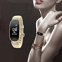 Женские умные часы SMART WATCH GOLD + ПОДАРОК черный ремешок