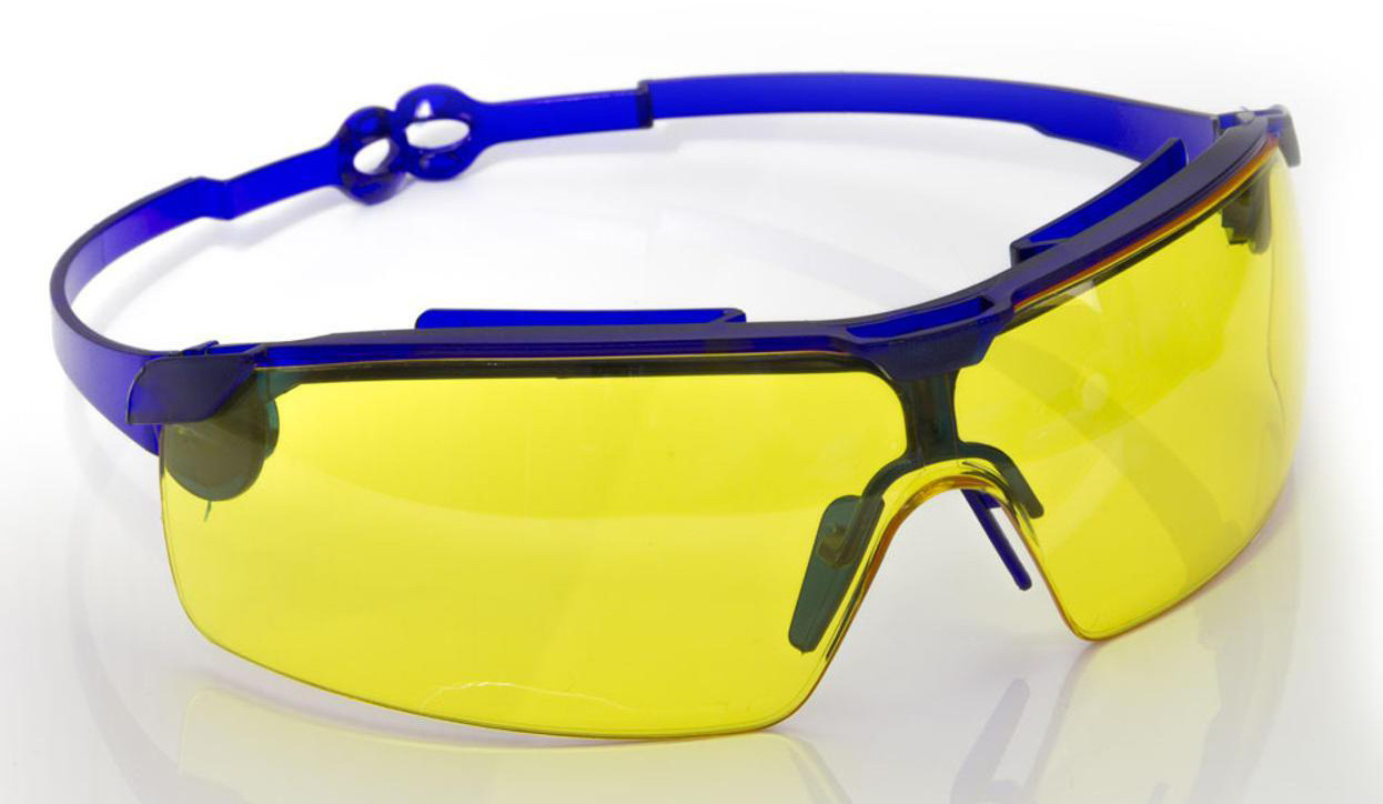 Очки жёлтые поворотные удлинённые дужки, стекло поликарбонат.