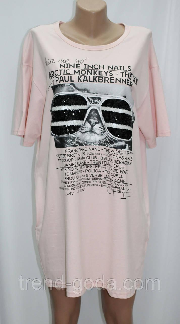 Платье футболка, без застежки, розовое, рисунок кот в очках