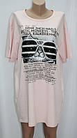 Платье футболка, без застежки, розовое, рисунок кот в очках, фото 1