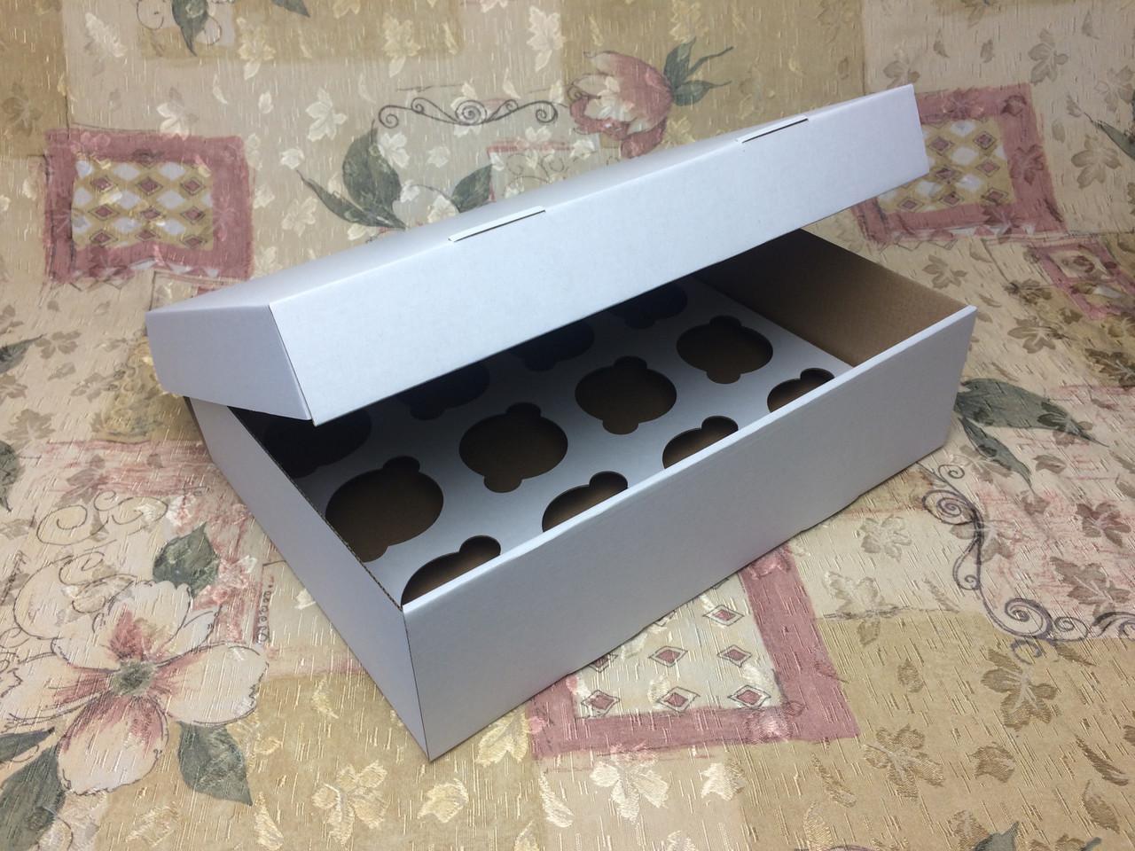 Коробка для 12-ти кексов / 340х250х90 мм / ГОФРА бел-бур / б.о.