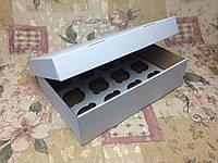 Коробка для 12-ти кексов / 340х250х90 мм / ГОФРА бел-бур / б.о., фото 1