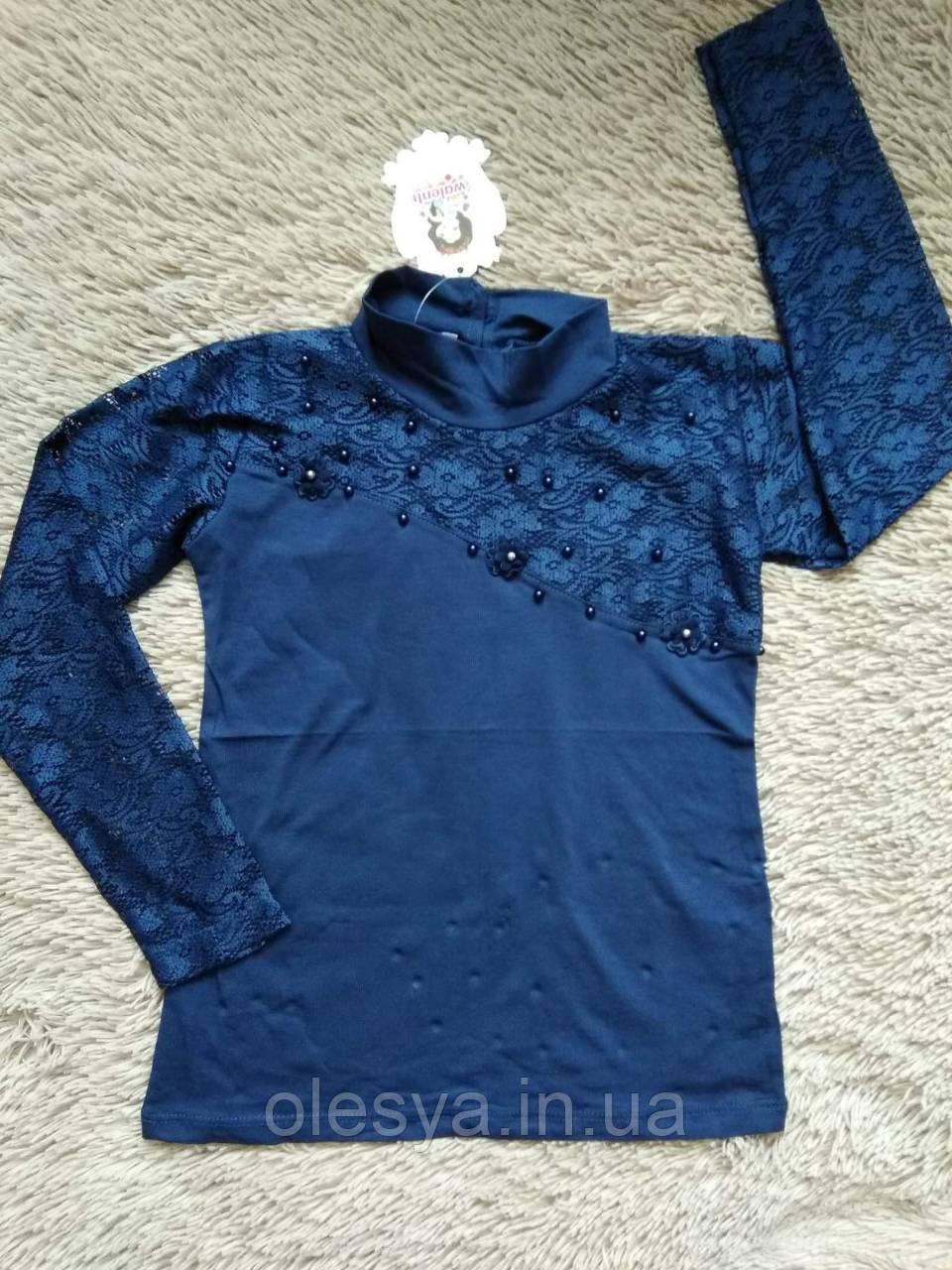 Нарядный кружевной школьный гольф на девочку Синий цвет Размеры 140, 146