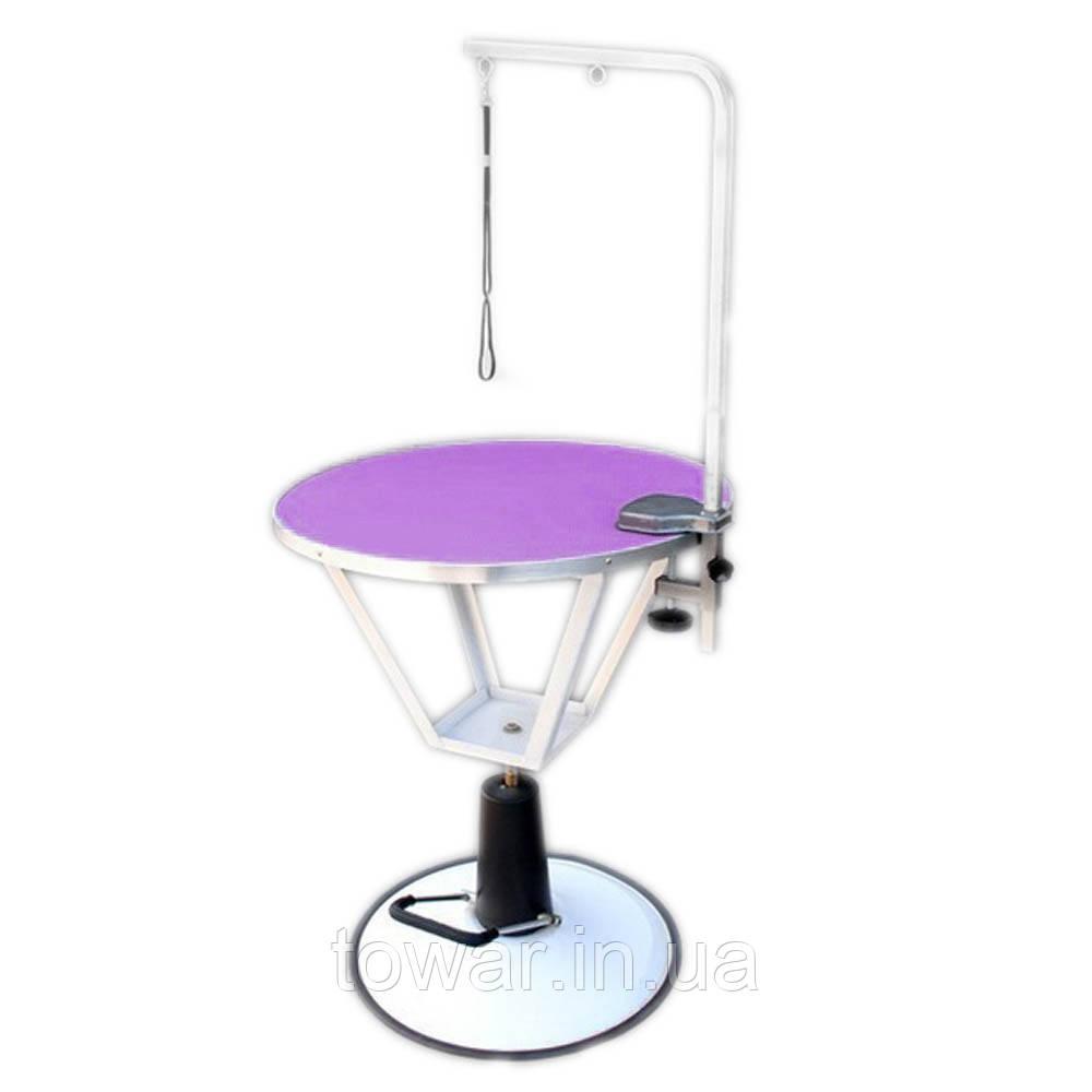 Гидравлический стол Blovi Event, фиолетовый верх с диаметром 70 см