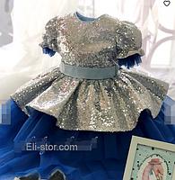 Дитяче плаття срібна паетка., фото 4