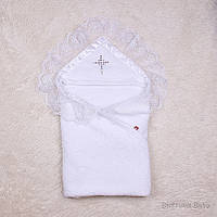 """Нарядное крестильное полотенце """"Богатство"""", белое, фото 1"""