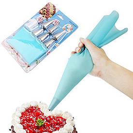 Набор кондитерский для крема 6 насадок с силиконовым Малый