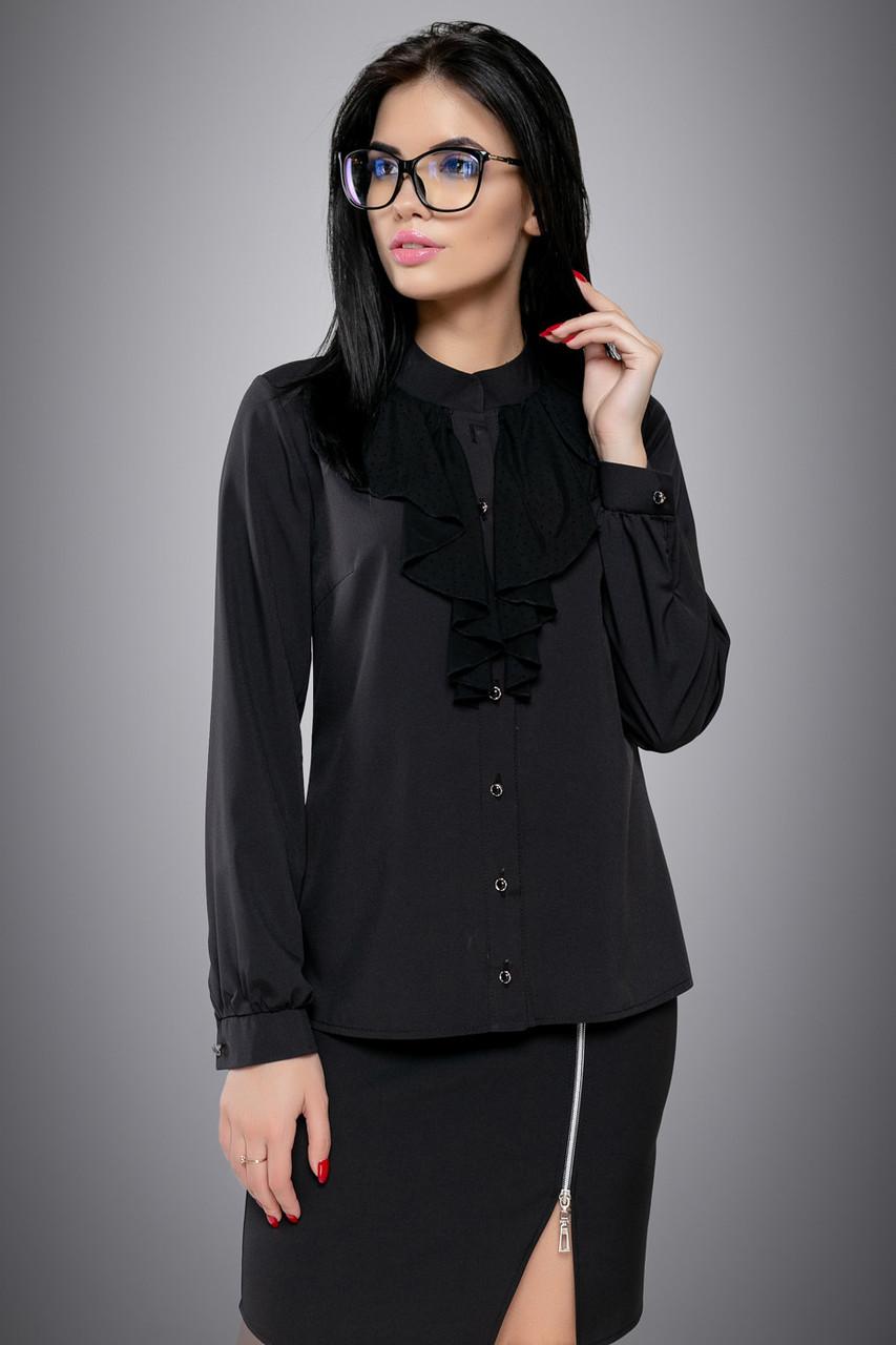 Элегантная женская чёрная блузка размеры от 44 до 50, софт с жабо