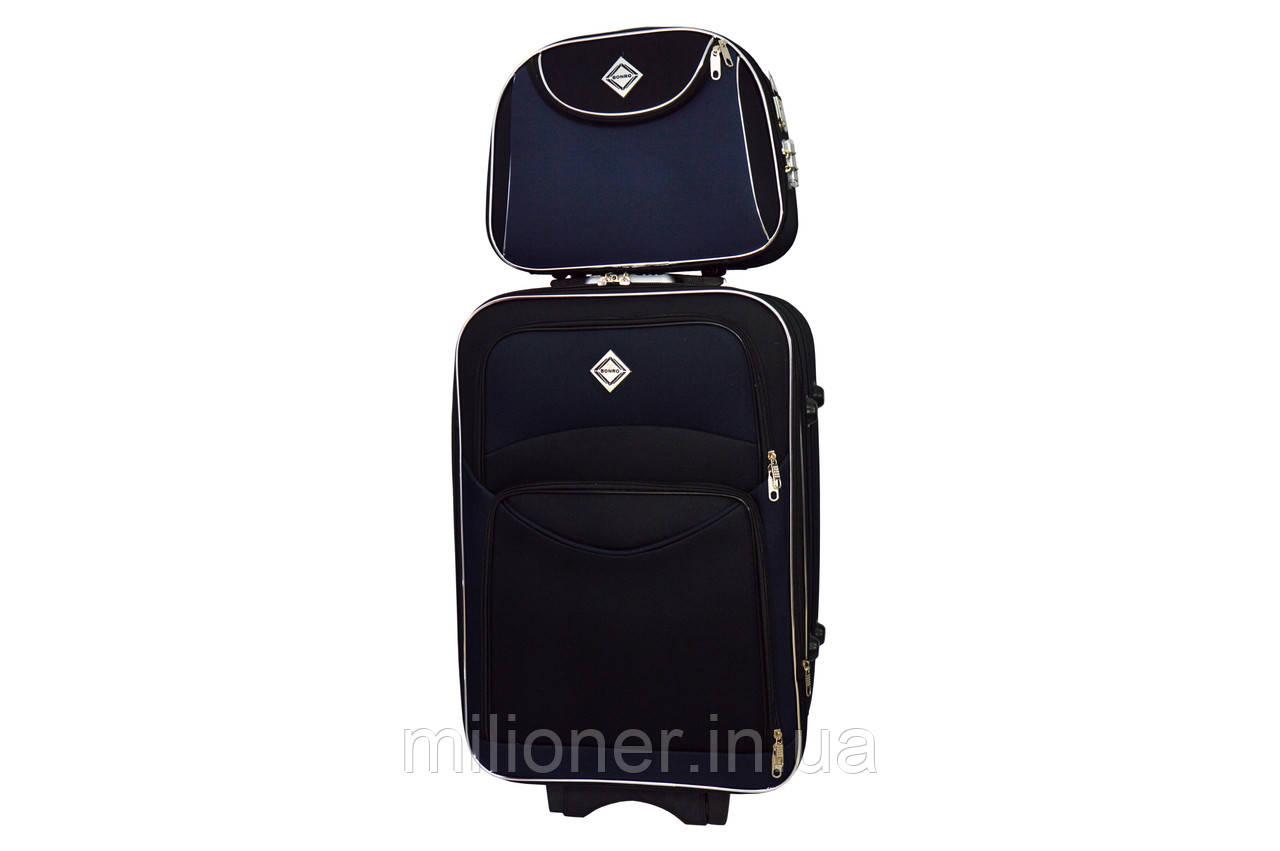 Комплект чемодан + кейс Bonro Style (средний) черно-т. синий