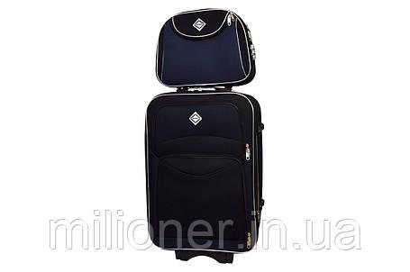 Комплект чемодан + кейс Bonro Style (средний) черно-т. синий, фото 2