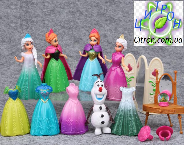Набор кукол с платьями Принцессы Диснея 4 куклы 8 платьев снеговик Олаф трюмо и прочее.