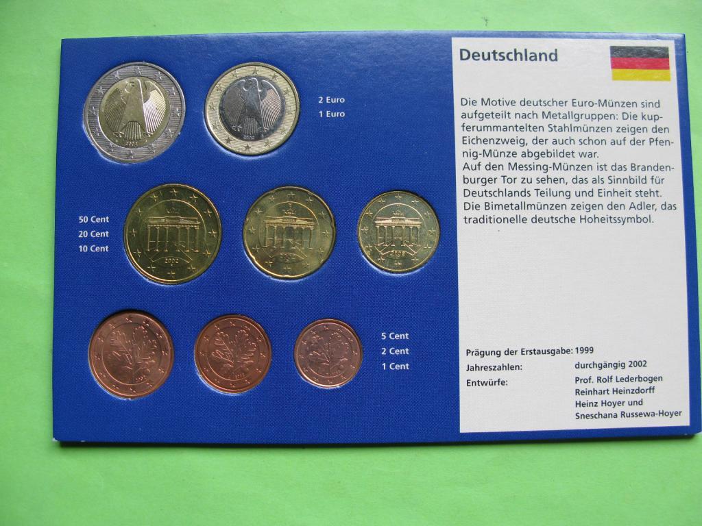 Германия , набор евро монет 2002 г , UNC.
