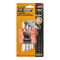 Набор шестигранных ключей короткие Hermes Tools 1,5-10 мм 9 шт