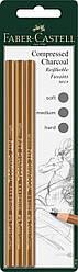Набір Faber-Castell PITT Charcoal пресоване вугілля-олівець 3 шт. різних твердості, 119999