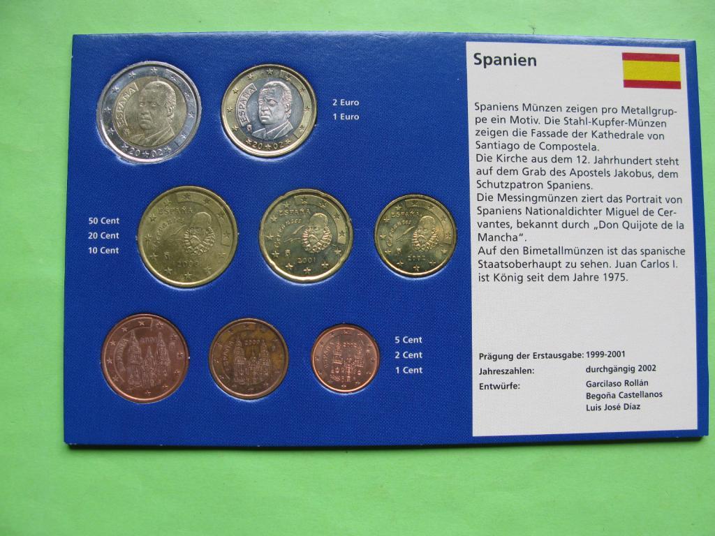 Испания , набор евро монет 1999-2002 г , UNC.