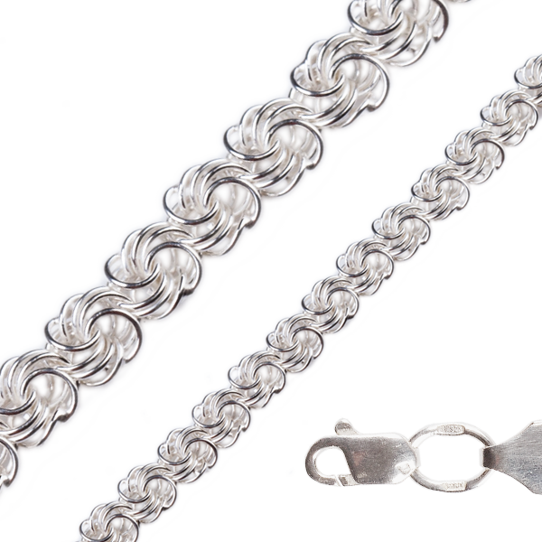 Браслет серебряный плетение Роза от 7 грамм